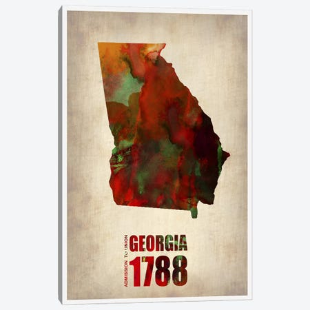 Georgia Watercolor Map Canvas Print #NAX283} by Naxart Canvas Print