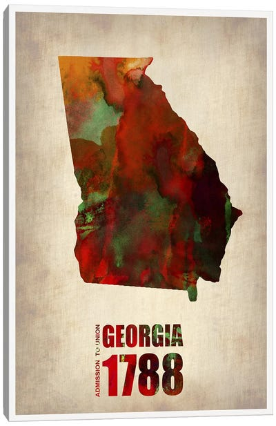 Georgia Watercolor Map Canvas Art Print