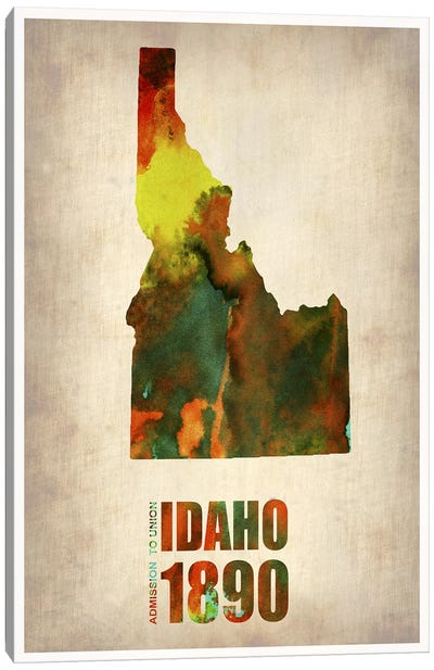 Idaho Watercolor Map Canvas Print #NAX284