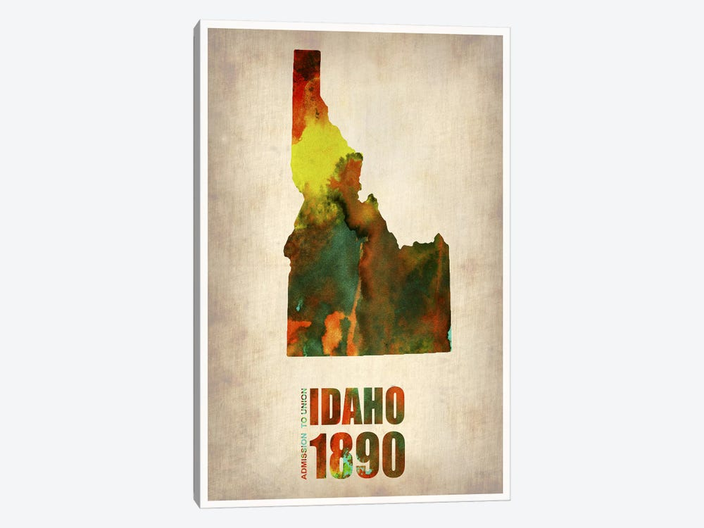 Idaho Watercolor Map by Naxart 1-piece Canvas Print