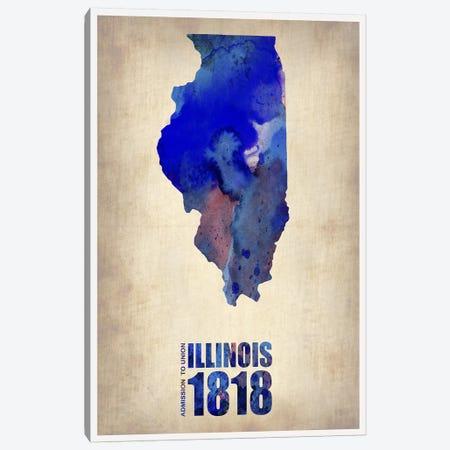 Illinois Watercolor Map Canvas Print #NAX285} by Naxart Canvas Wall Art