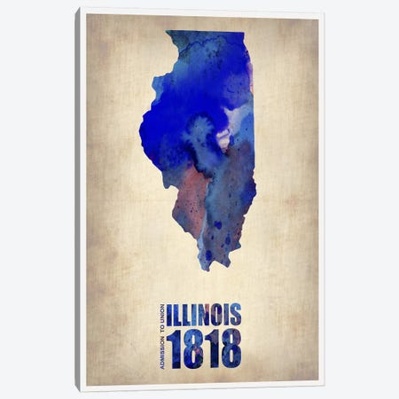 Illinois Watercolor Map Canvas Print #NAX285} by Naxart Canvas Wall Art
