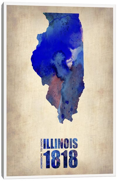 Illinois Watercolor Map Canvas Art Print