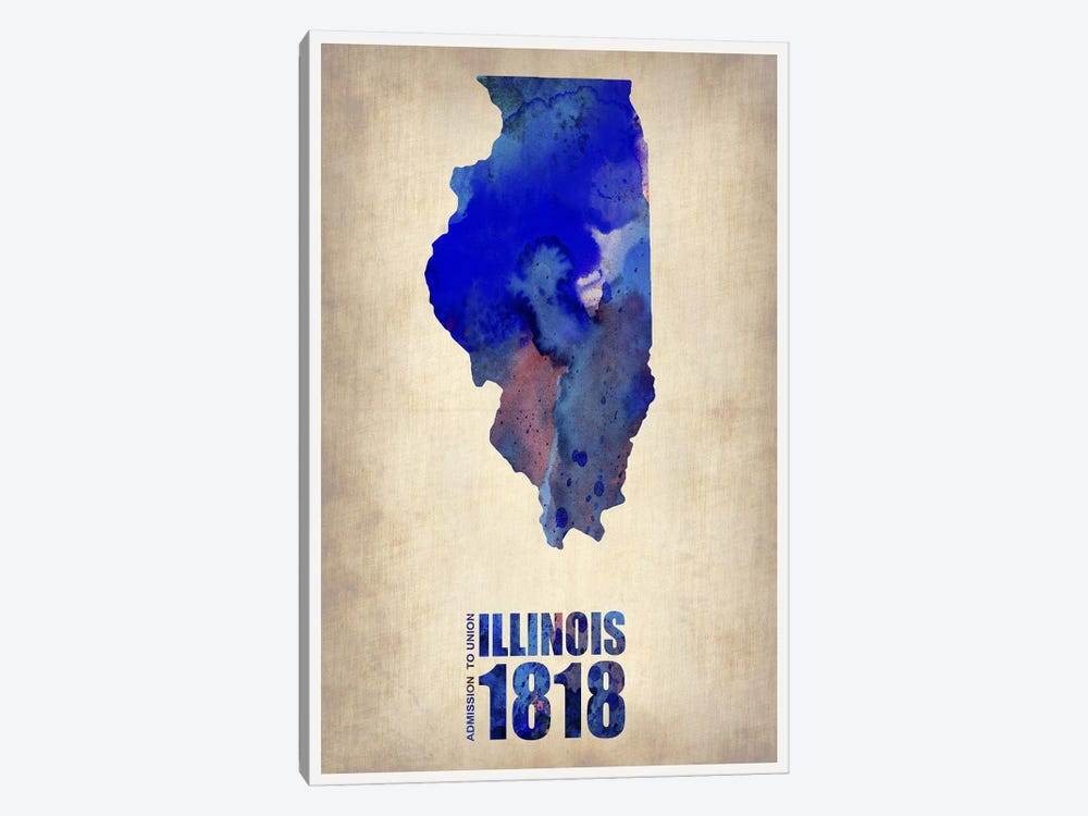 Illinois Watercolor Map by Naxart 1-piece Canvas Wall Art
