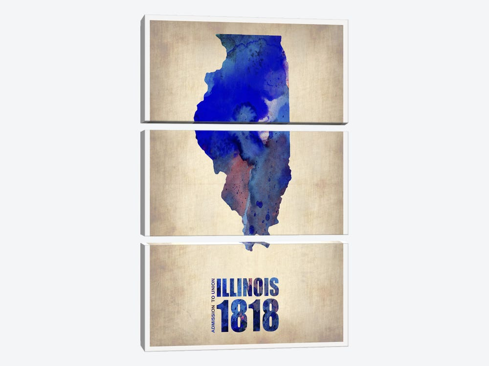 Illinois Watercolor Map by Naxart 3-piece Canvas Wall Art