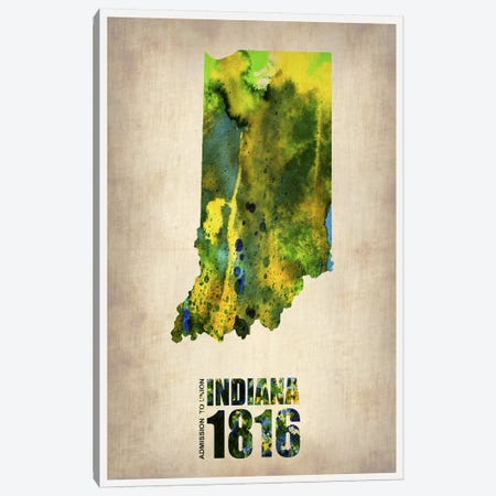 Indiana Watercolor Map Canvas Print #NAX286} by Naxart Canvas Wall Art