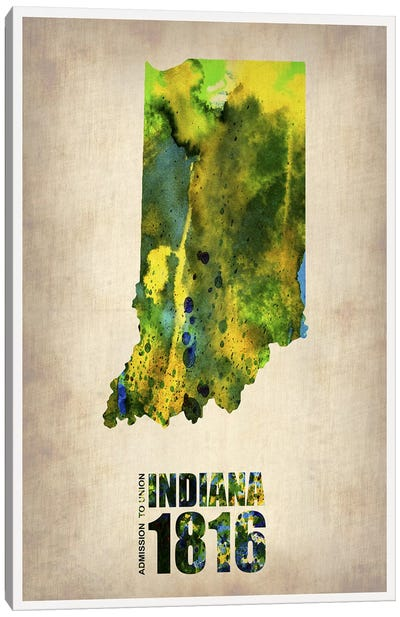 Indiana Watercolor Map Canvas Art Print