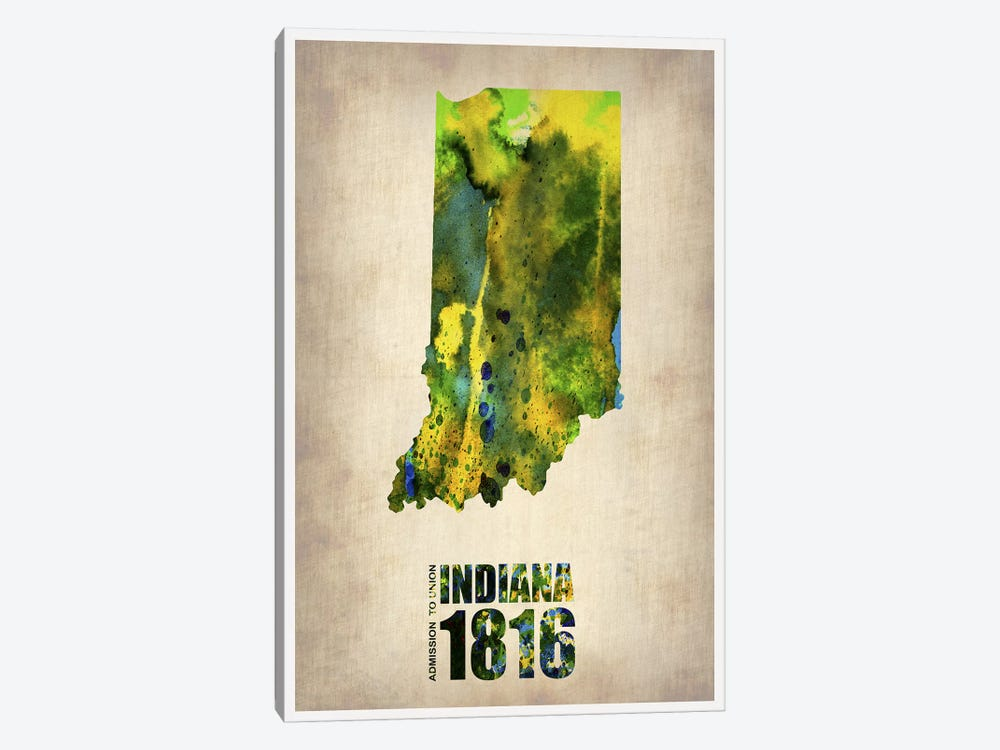 Indiana Watercolor Map by Naxart 1-piece Art Print