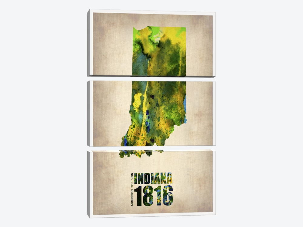 Indiana Watercolor Map by Naxart 3-piece Canvas Art Print