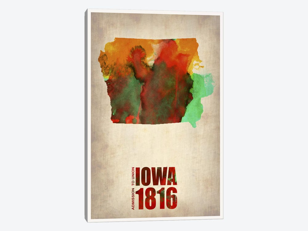 Iowa Watercolor Map by Naxart 1-piece Canvas Art