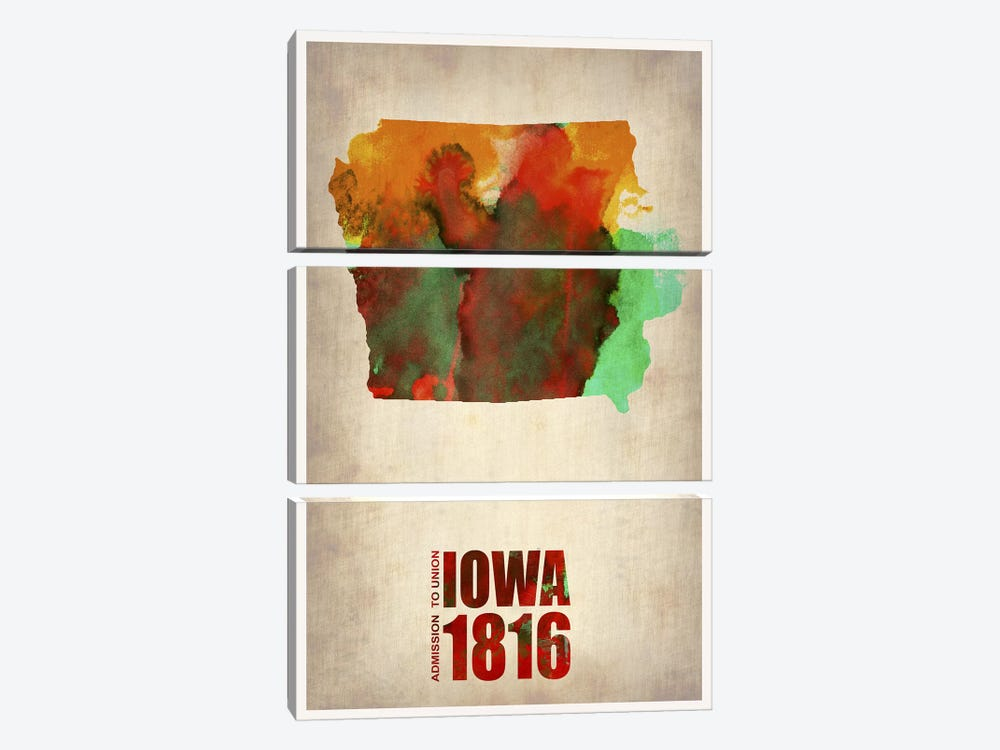 Iowa Watercolor Map by Naxart 3-piece Canvas Art