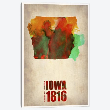 Iowa Watercolor Map Canvas Print #NAX287} by Naxart Canvas Artwork
