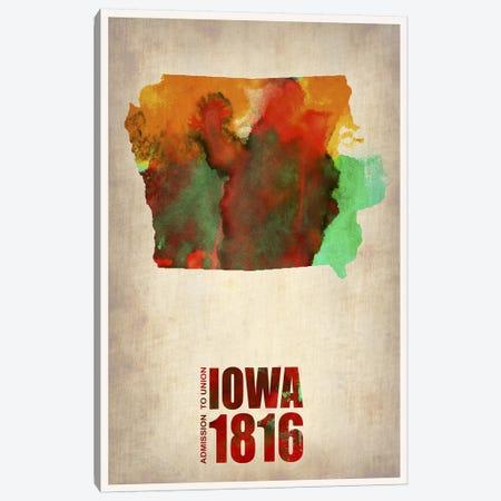 Iowa Watercolor Map Canvas Print #NAX287} by Naxart Canvas Artwork