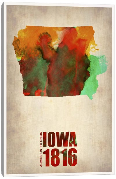 Iowa Watercolor Map Canvas Art Print