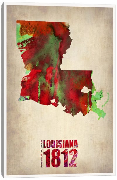 Louisiana Watercolor Map Canvas Art Print