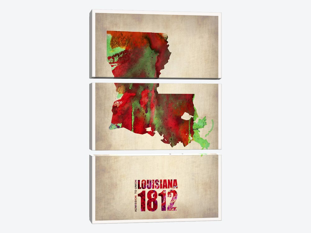 Louisiana Watercolor Map by Naxart 3-piece Canvas Art