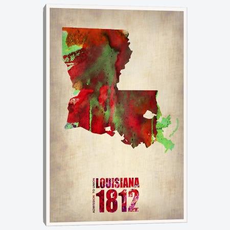 Louisiana Watercolor Map Canvas Print #NAX289} by Naxart Canvas Art Print