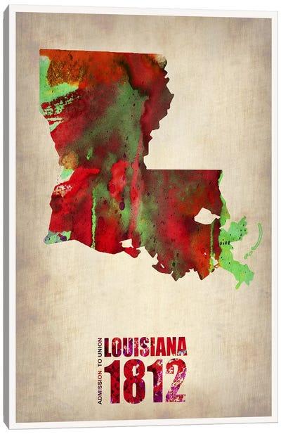 Louisiana Watercolor Map Canvas Art Print