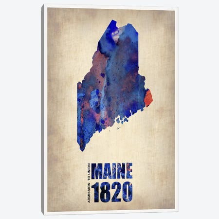 Maine Watercolor Map Canvas Print #NAX290} by Naxart Canvas Artwork