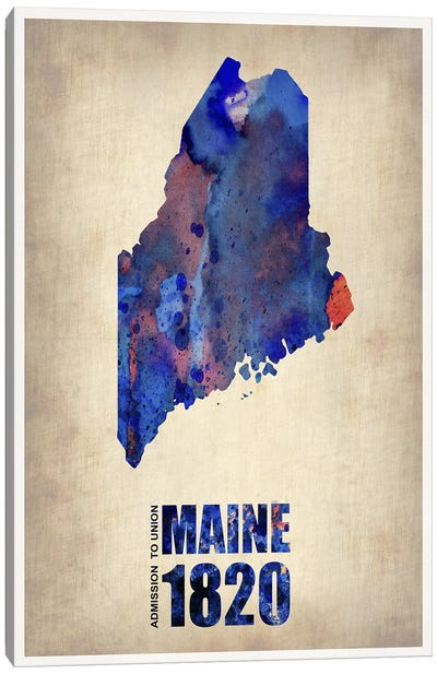 Maine Watercolor Map Canvas Art Print