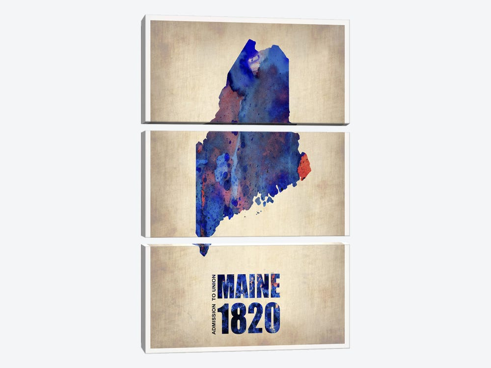 Maine Watercolor Map 3-piece Canvas Artwork