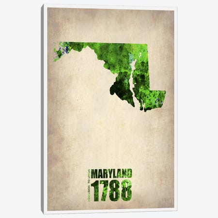 Maryland Watercolor Map Canvas Print #NAX291} by Naxart Canvas Wall Art