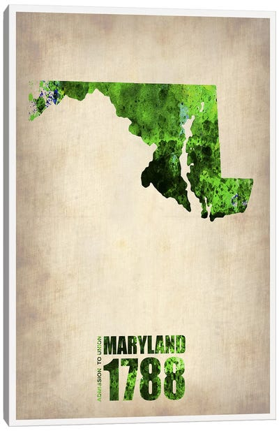 Maryland Watercolor Map Canvas Art Print
