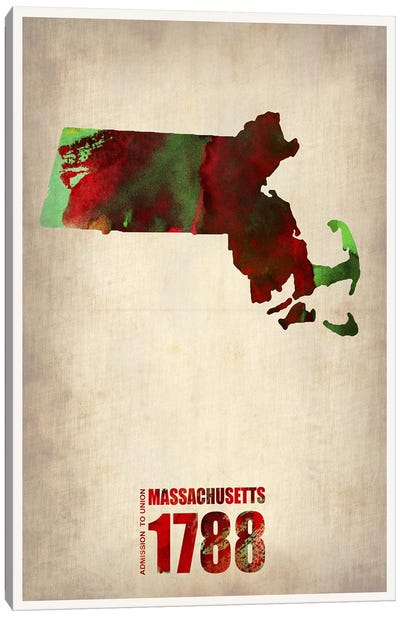 Massachusetts Watercolor Map Canvas Print #NAX292