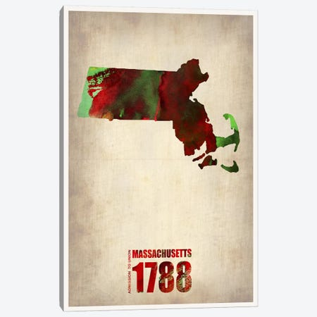 Massachusetts Watercolor Map Canvas Print #NAX292} by Naxart Canvas Artwork
