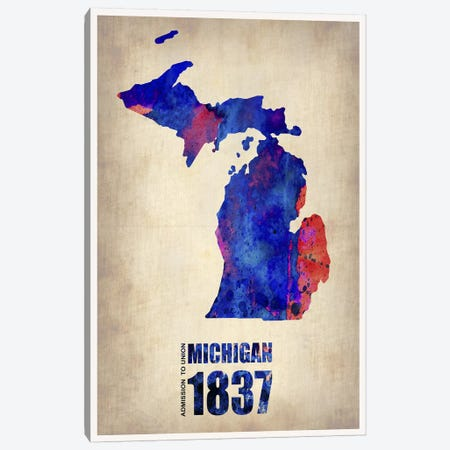 Michigan Watercolor Map Canvas Print #NAX293} by Naxart Canvas Wall Art