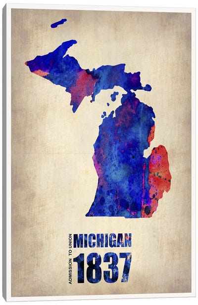Michigan Watercolor Map Canvas Art Print