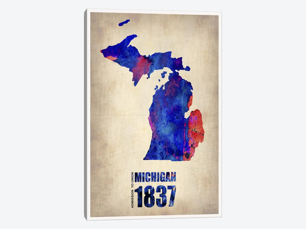 Michigan Watercolor Map by Naxart 1-piece Canvas Print