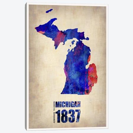 Michigan Watercolor Map Canvas Print #NAX293} by Naxart Canvas Wall Art