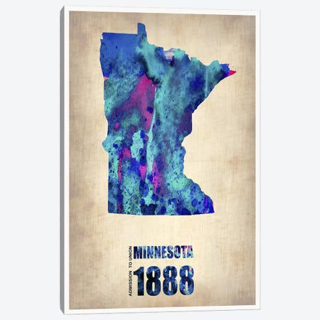 Minnesota Watercolor Map Canvas Print #NAX294} by Naxart Canvas Art Print