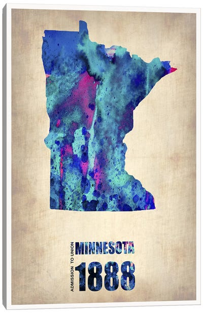 Minnesota Watercolor Map Canvas Art Print