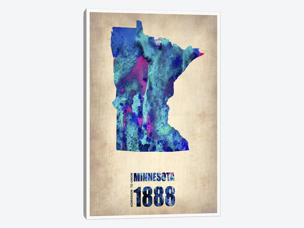 Minnesota Watercolor Map by Naxart 1-piece Canvas Artwork