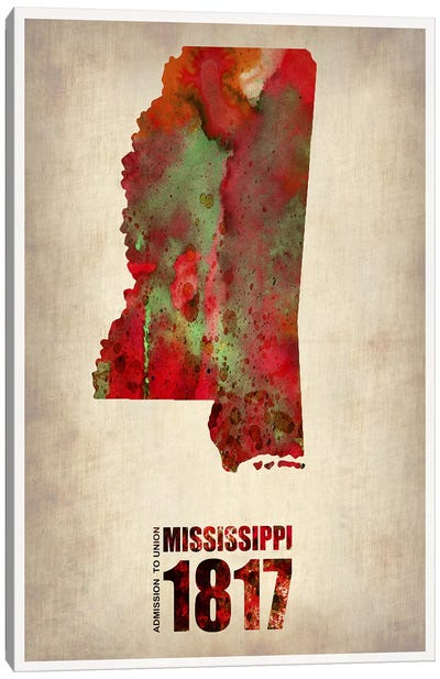 Mississippi Watercolor Map Canvas Art Print