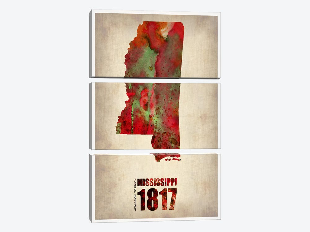 Mississippi Watercolor Map 3-piece Art Print