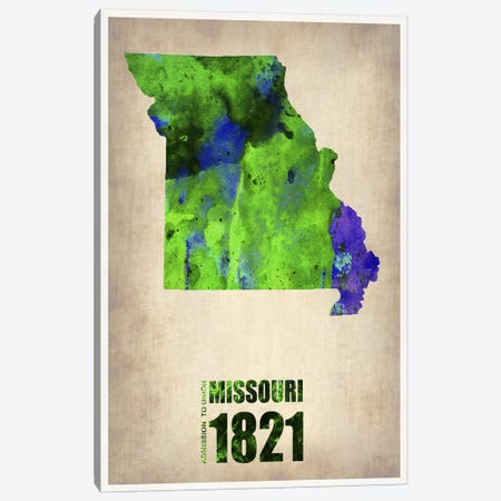 Missouri Watercolor Map Canvas Print #NAX296} by Naxart Art Print