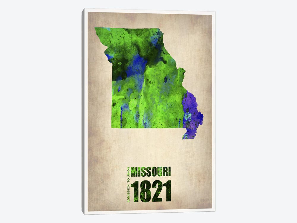 Missouri Watercolor Map by Naxart 1-piece Canvas Wall Art