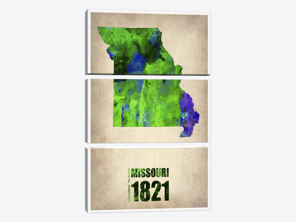 Missouri Watercolor Map by Naxart 3-piece Canvas Wall Art