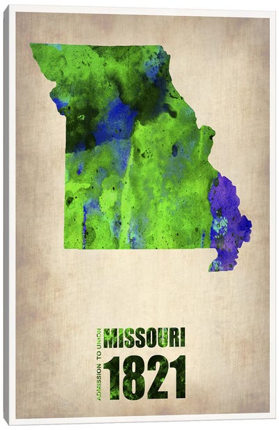 Missouri Watercolor Map Canvas Art Print