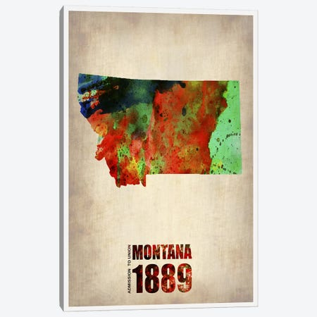 Montana Watercolor Map Canvas Print #NAX297} by Naxart Canvas Art Print