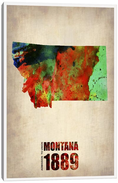 Montana Watercolor Map Canvas Print #NAX297