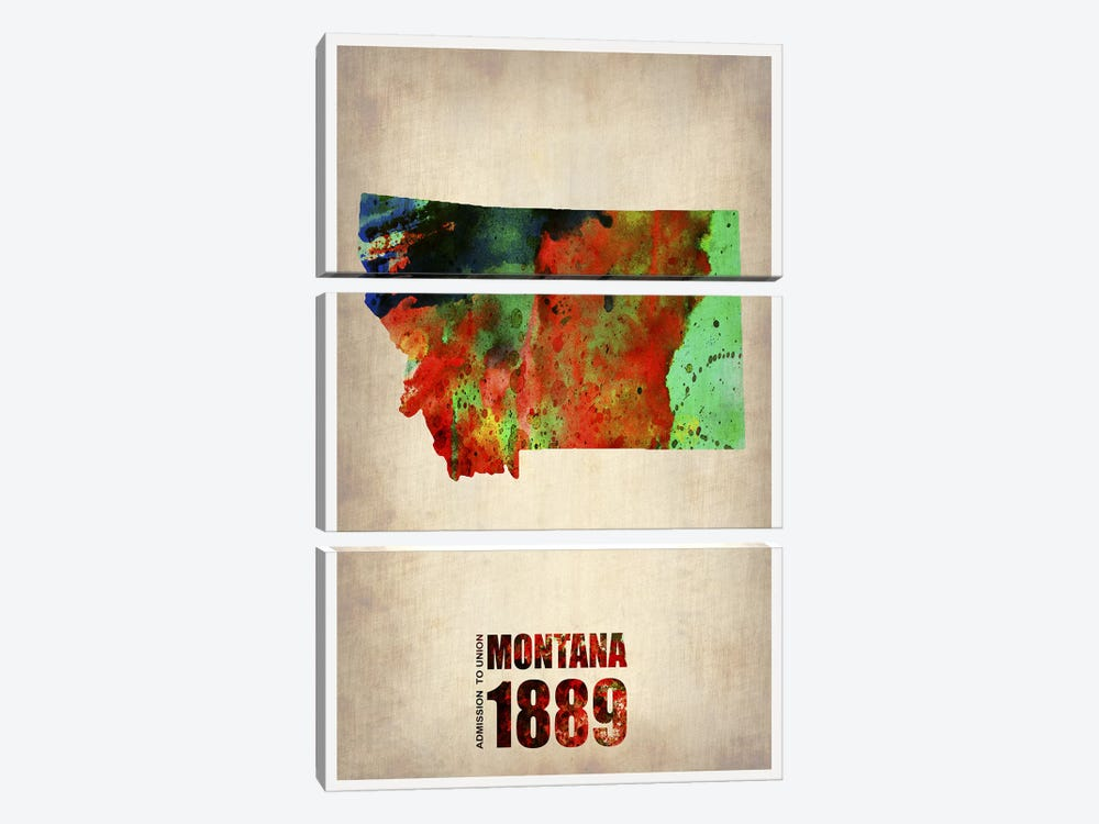 Montana Watercolor Map by Naxart 3-piece Canvas Print
