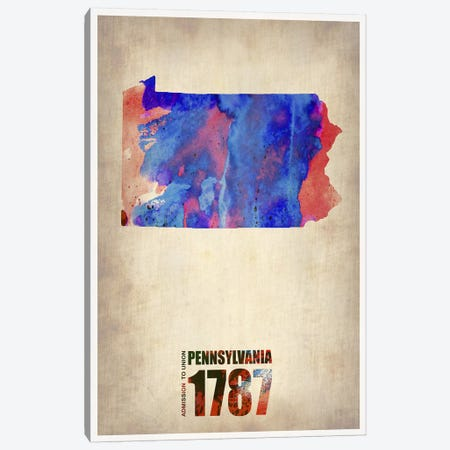 Pennsylvania Watercolor Map Canvas Print #NAX298} by Naxart Canvas Wall Art