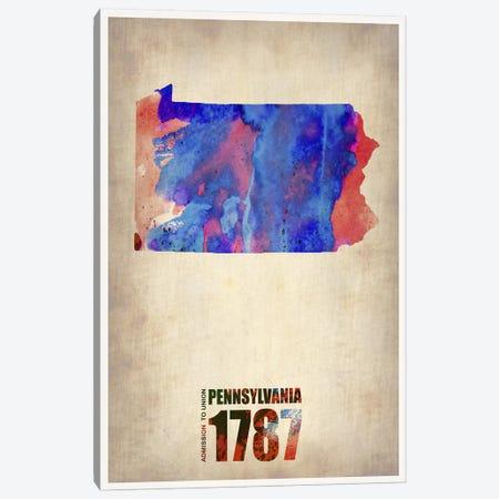 Pennsylvania Watercolor Map Canvas Print #NAX298} by Naxart Canvas Wall Art