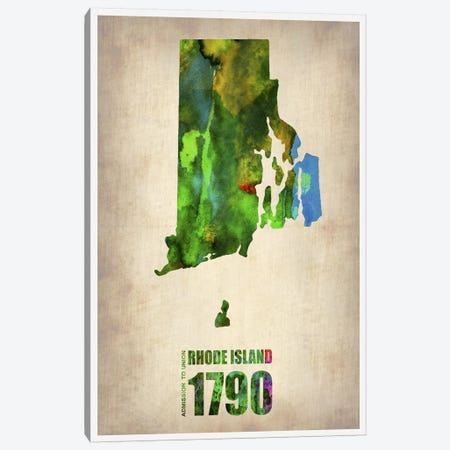 Rhode Island Watercolor Map Canvas Print #NAX299} by Naxart Canvas Artwork