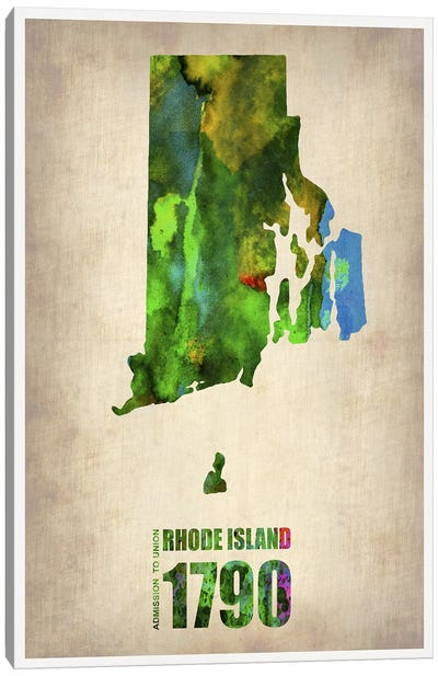 Rhode Island Watercolor Map Canvas Print #NAX299