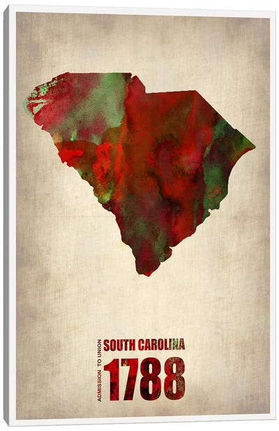 South Carolina Watercolor Map Canvas Art Print